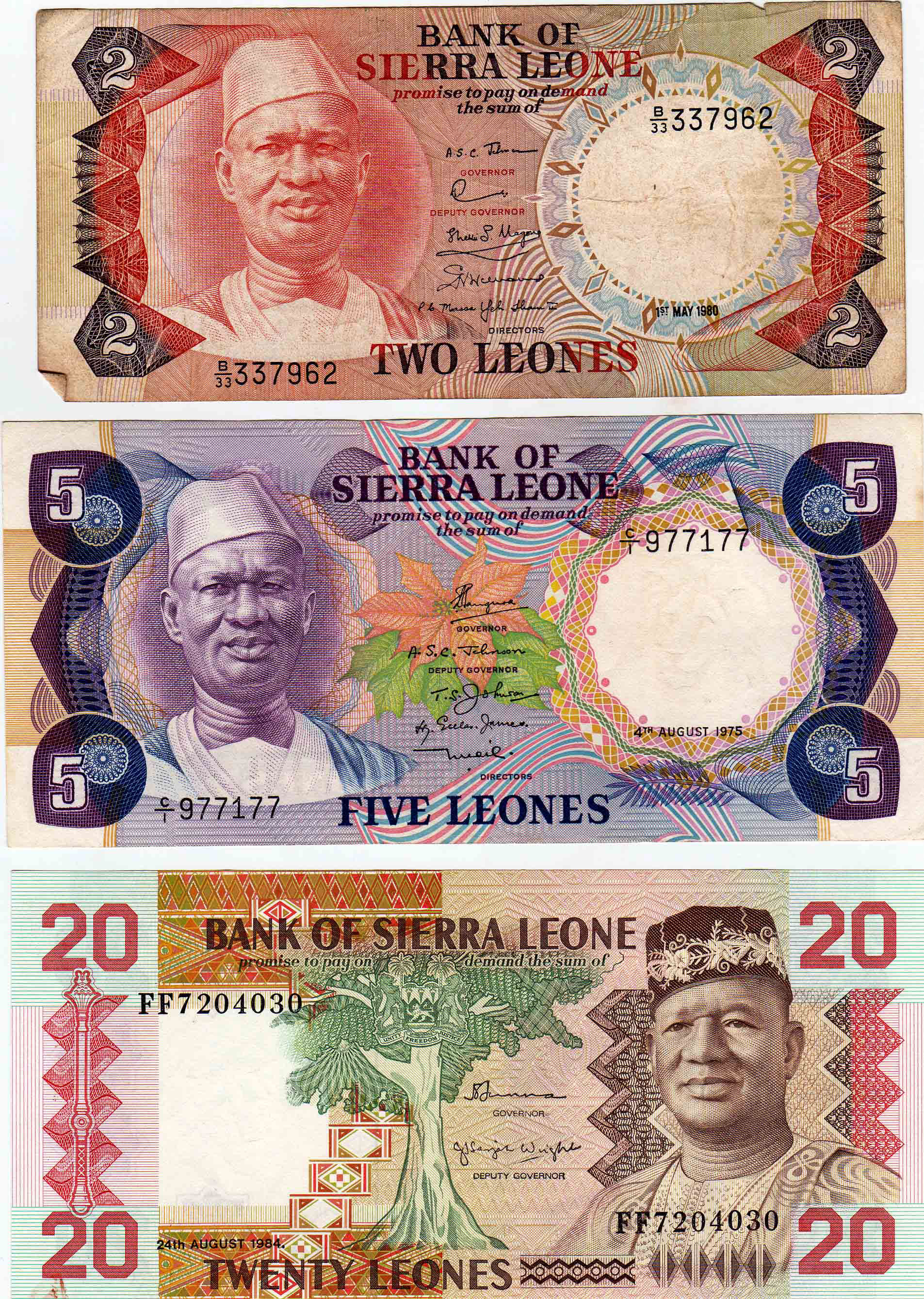 This Currency Was Used During The 12 Year Rule Of President Siaka Probyn Stevens Front Side