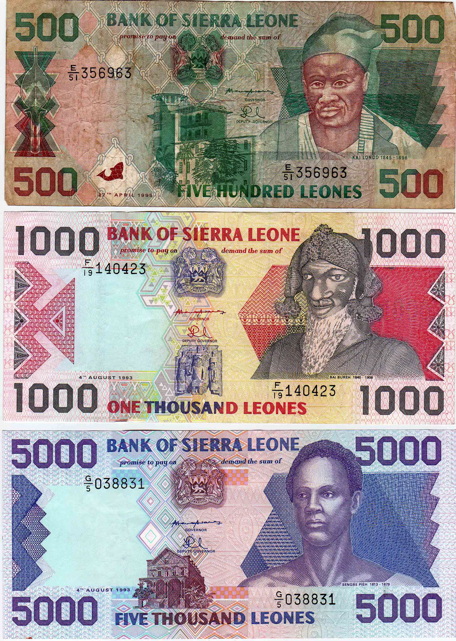 After President Momoh Was Toppled In A Coup 1991 The Nprc Military Junta Issued New Currency Honoring Heroes Sierra Leone S History
